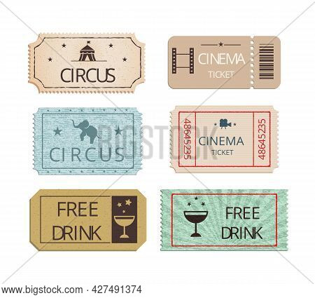 Vintage Cinema  Circus And Party Tickets Vector Set Showing Perforated Entry Tickets With Icons Depi