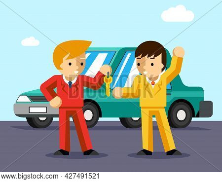 Buying Car. Man Gets Keys To The Car. Sale And Giving, Automobile Dealer, People Buy, Success Owner
