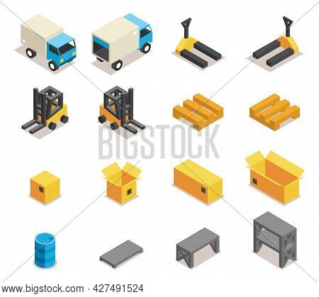 Warehouse Equipment Icon Set. Transportation And Forklift, Cargo And Box, Logistic And Delivery, Vec