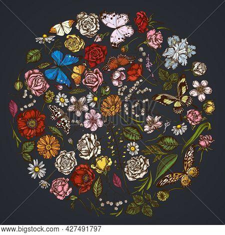 Round Floral Design On Dark Background With Shepherds Purse, Heather, Iris Japonica, Sakura, Gypsoph