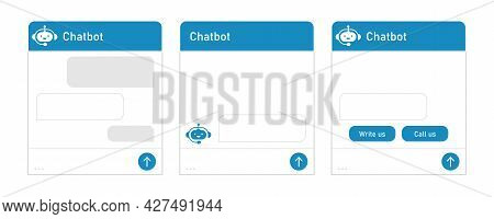 Chatbot And Dialogue Window. Mobile Helper, Contact Us Form, Chat With The Support Service Concept.
