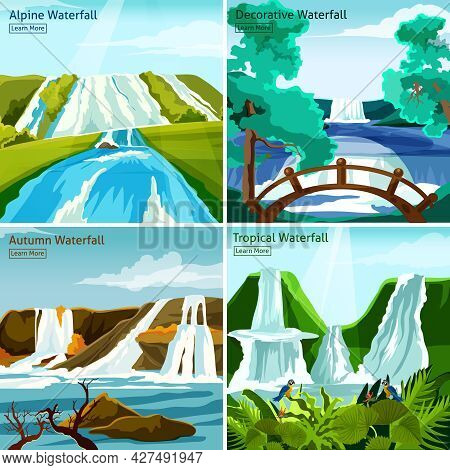 Waterfall Landscapes 2x2 Design Concept With Pictires Of Alpine North Tropical And Decorative Waterf