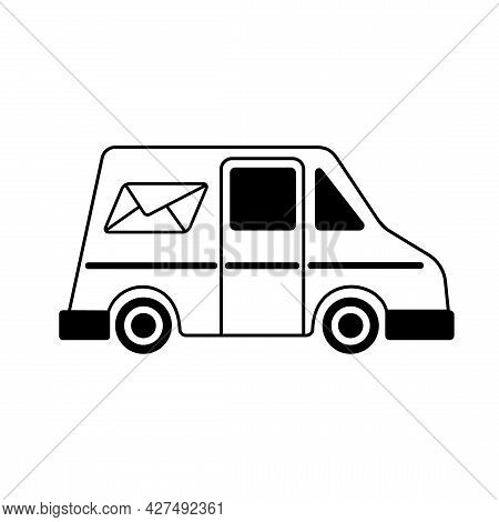 Post Car Icon. Delivery Service Image. Delivery Sign Vector. Mail Truck