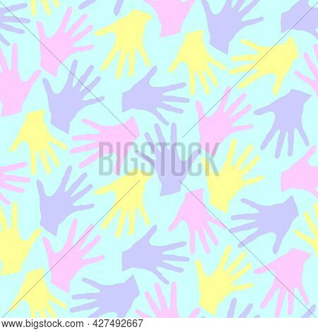 Seamless Pattern With Palm Prints. Symbol Of Racial And National Equality, Friendship, Happy Childho