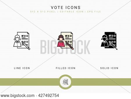 Vote Icons Set Vector Illustration With Solid Icon Line Style. Customer Satisfaction Check Concept.