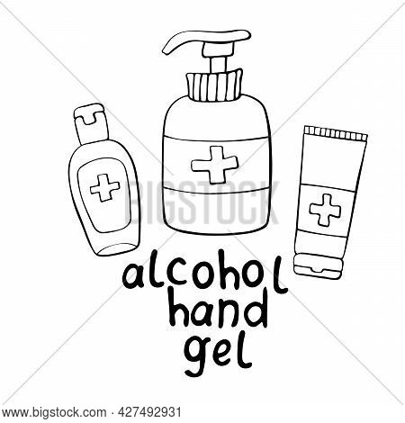 Set Of Bottles Gel Hand Sanitizer. Personal Hygiene Products. Antiseptic Dispenser Disinfects, Prote