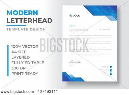 Corporate Modern Business  Letterhead Design Template With Blue Color. Creative Modern Letter Head D