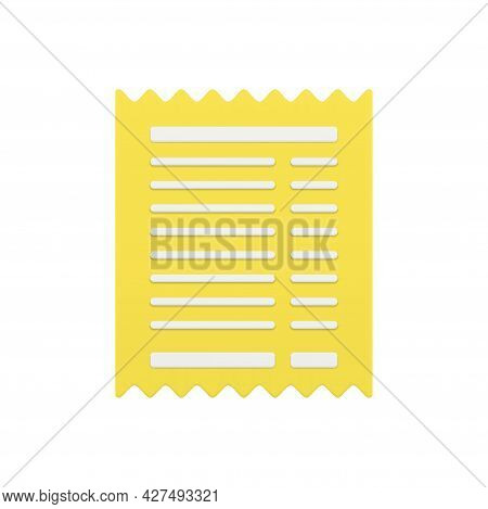 Golden Receipt 3d Icon. Paper Slip With Jagged Sides
