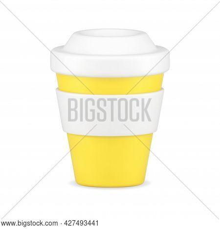 Yellow Cup For Coffee 3d Icon. Cardboard Container With White Lid And Rim