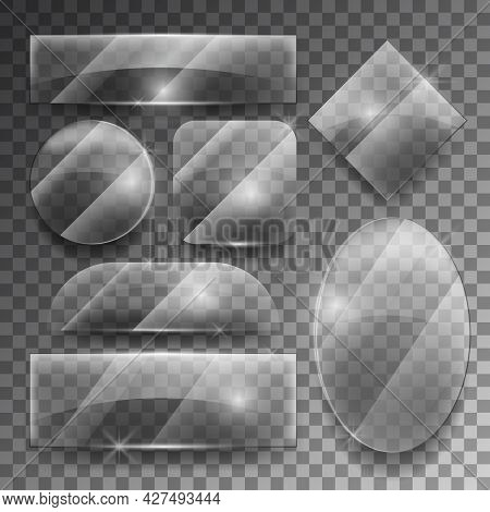 Vector Transparent Glass Plates Set. Shiny Frame Glossy, Empty Shape Illustration