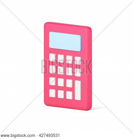 Red Calculator 3d Icon. Computing Device With White Buttons
