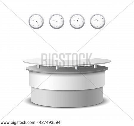 Vector Realistic Reception Counter. Interior And Furniture Design, Table In Hall, Counter Hotel Illu
