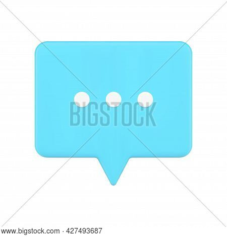 Blue Speech Bubble Web Chat 3d Icon. Volumetric Rectangle With White Dots Of Writing Message