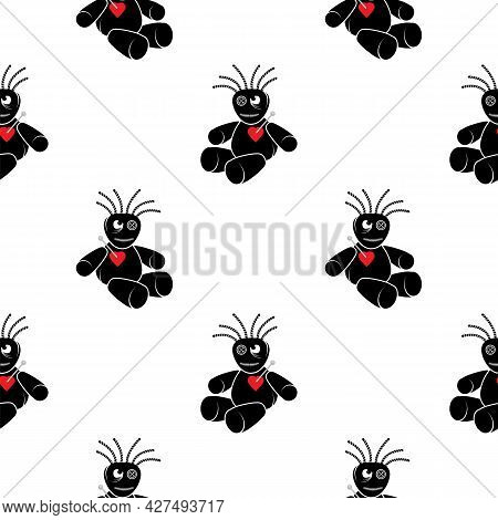 Voodoo Doll With Red Heart Seamless Pattern Isolated On White Background