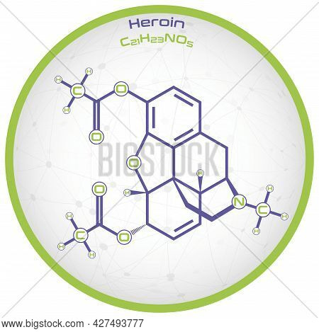 Large And Detailed Infographic Of The Molecule Of Heroin