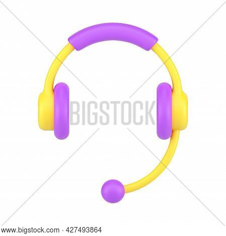 Professional Headphones With Microphone 3d Icon. Yellow Headset With Purple Accents