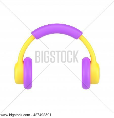 Mobile Headphones 3d Icon. Professional Yellow Headset With Purple Accents