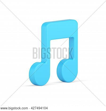 Musical Note 3d Icon. Volumetric Blue Symbol Of Melody