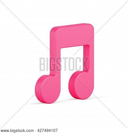 Note Symbol 3d Icon. Music Red Tone Of Melody
