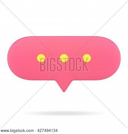 Oval Red Conversational Web Bubble 3d Icon. Online Chat With Text Comments