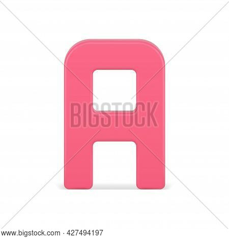 Alphabetical Letter A 3d Icon. Red Symbol For Volumetric Typography