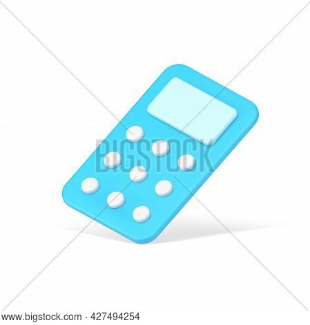 Falling Control Panel 3d Icon. Blue Controller For Communication With Digital Gadgets