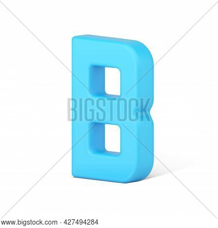 Blue Letter B 3d Icon. Text Symbol For Volumetric Typography