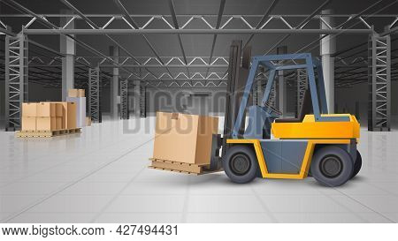 Warehouse Interior And Logistics Realistic Background With Forklift And Boxes Vector Illustration