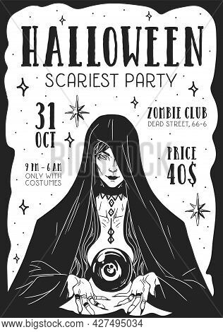 Design Of Halloween Scary Party Poster. Flyer For Creepy Event. Template Of Vertical Ad Banner With