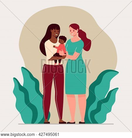 Lgbt Family. Vector Illustration Homosexual Female Concept.
