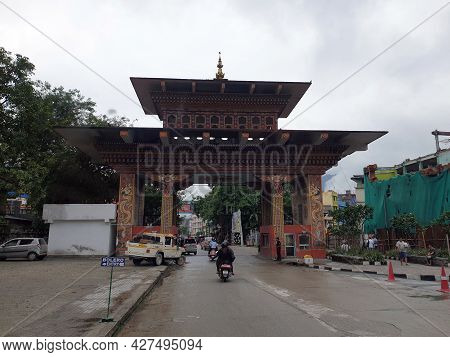 Phuentsholing, Bhutan - May 04, 2019: A Huge Gate With Traditional Architecture Entering The Country