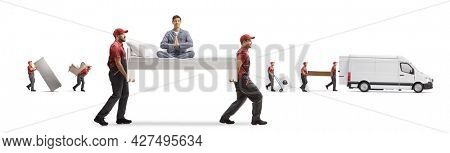 Movers putting items into a van and a bed with man in pajamas sitting in a meditation pose isolated on white background