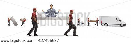 Man in pajamas practicing yoga on a bed carried by movers isolated on white background