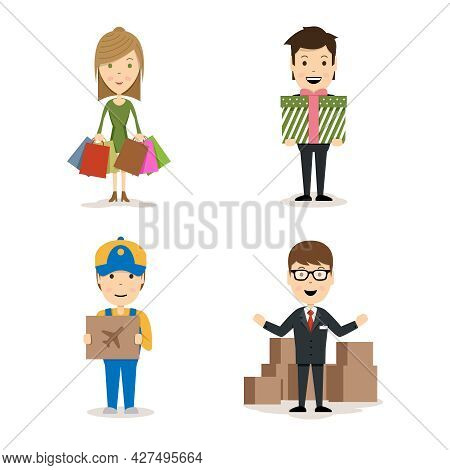 Vector People Shopping Characters With A Woman With Bags  A Man Holding A Gift  A Deliveryman With A