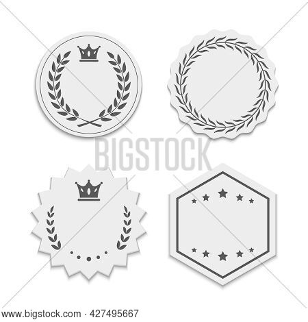 Vector White Paper Labels With Wreaths And Crowns. Beautiful Stickers With Stroke, Different Shapes