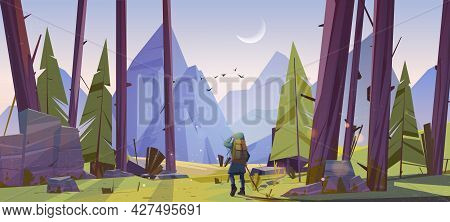 Traveler At Forest With Mountains View At Morning. Travel Journey, Adventure. Tourist With Backpack