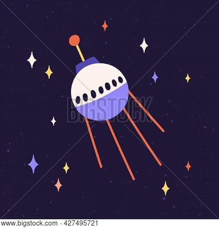 Sphere Of Satellite With Antennas Flying In Outer Space. Sputnik, Cosmic Equipment, Fly In Cosmos. A