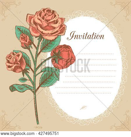 Wedding Invitation Vintage, Save The Date Or Thank You Card With Red Rose Vector