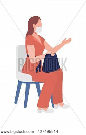 Business Woman With Lady Bag Semi Flat Color Vector Character. Full Body Person On White. Girl Expla