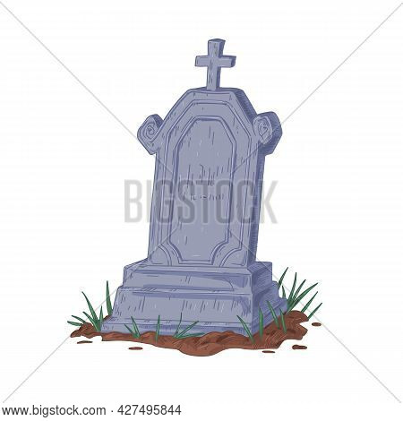 Old Upright Gravestone With Christian Cross. Vintage Tombstone Of Ancient Grave. Cracked Headstone O