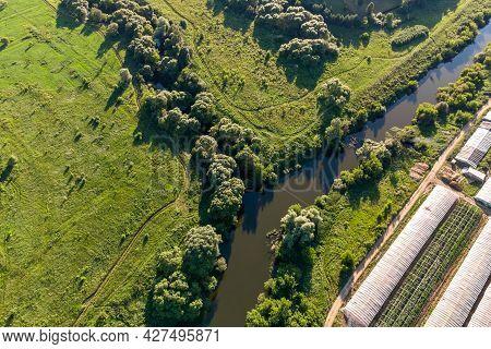 The Place Where The Luzha River Flows Into The Protva River, Aerial View. Obolenskoe Village, Kaluzh