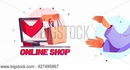 Online Shop Cartoon Poster With Hand Giving Shopping Bag To Customer From Computer Desktop And Pos T