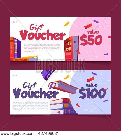Gift Voucher For Books Buying, Cartoon Coupon Templates On Fifty And One Hundred Dollars Value For R