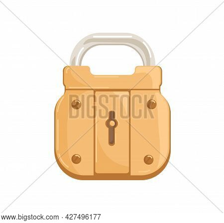 Locked Hanging Bronze Padlock With Closed Shackle And Keyhole. Glossy Gold-colored Brass Mechanism F