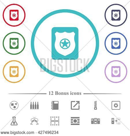 Police Badge Flat Color Icons In Circle Shape Outlines. 12 Bonus Icons Included.