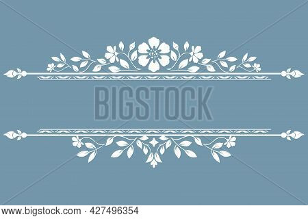 Vintage Blue And White Element. Graphic Design. Damask Graphic Ornament