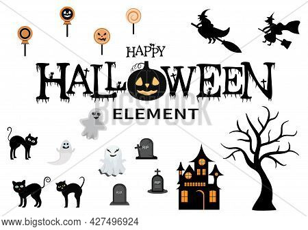 Halloween Night Party Background Silhouette Landing Page Illustration With Witch, Haunted House, Pum