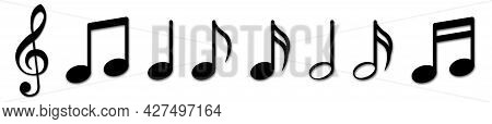Musical Note Icons. Vector Illustration Isolated On White