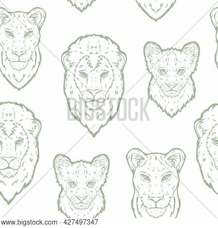 Vector Lion Family Line Art In Sage Green Seamless Pattern Background. Perfect For Fabric, Scrapbook