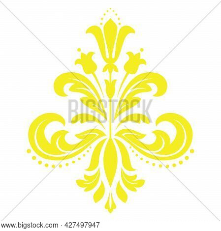 Damask Graphic Ornament. Floral Design Element. Yellow Pattern